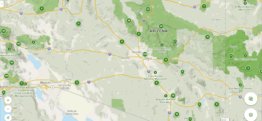 Google map of Tonto National Forest location.