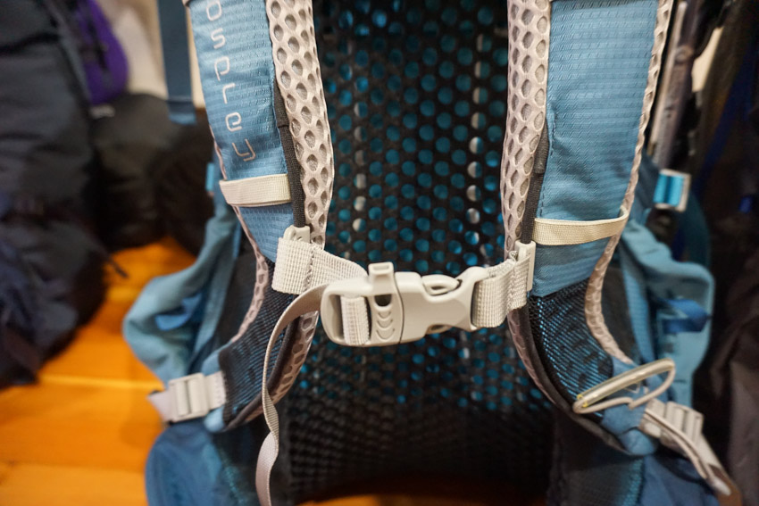 Osprey Aura 65 Backpacking Backpack with whistle sternum strap.