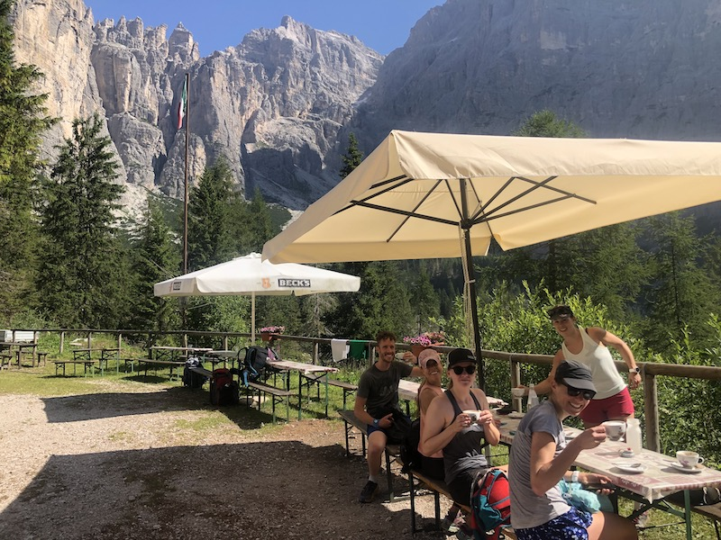 Cappuccino break on the guided Dolomites Runcation Travel trip.